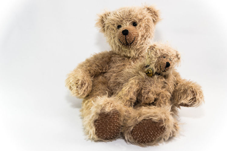 Old bear and young bear Empty Space Sitting Teddy Bears Toys Brown Childhood Childhoodmemories Close-up Cute Day Dolls Friendly Faces Friendship Indoors  Indoors  No People Protection Studio Shot Stuffed Toy Teddy Bear Togetherness Toy Two Bears White Background