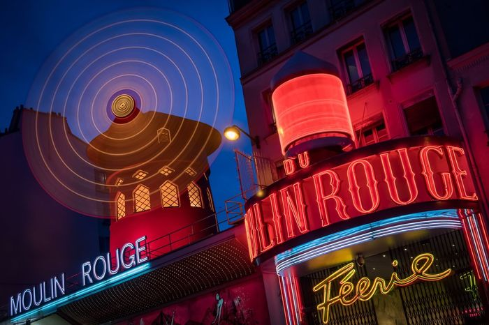 Moulin Rouge Paris by night Moulin Rouge Moulin Moulinrouge Moulin Rouge Paris Paris Paris, France  Blue Red Illuminated Landmark Sightseeing Montmartre Night Dance Cancan Nightclub France Famous Place Famous Popular Tourist Attraction  Nightlife Neon No People Multi Colored