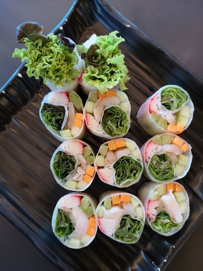 High angle view of chopped vegetables on table