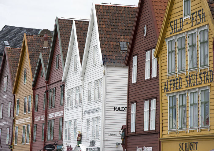 Architecture Bergen Bergen Houses Building Exterior Built Structure Colourful Houses Day Low Angle View No People Norway Outdoors Sky Wooden Home Wooden Houses