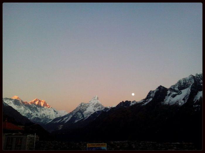 Sunset Seen inMt.Everest .. & Full Moon