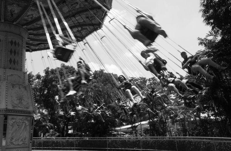 Outdoors Blackandwhite Amusement Park Rides People Blurred Motion