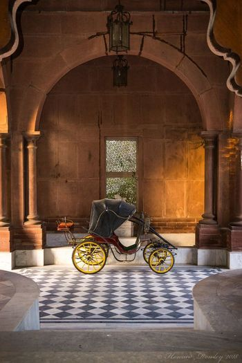 Carriage at Raj Niwas palace, Dholpur, India Rajasthan Antique India Raj Niwas Palace Dholpur Carriage Arch Architecture Travel Destinations Transportation Indoors  History Built Structure