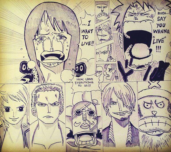One of my favorite sketches OnePiece One Piece Fan Strawhatpirates Save Nakama Friend Friendship Mugiwara Luffy ñami Zoro Sanji Ussopp Chopper Robin Manga Anime Hope CP9 Fight