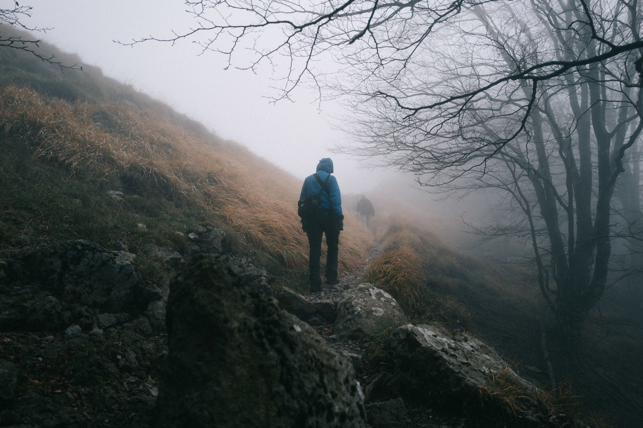 Rear View Of Person Hiking On Mountain In Foggy Weather