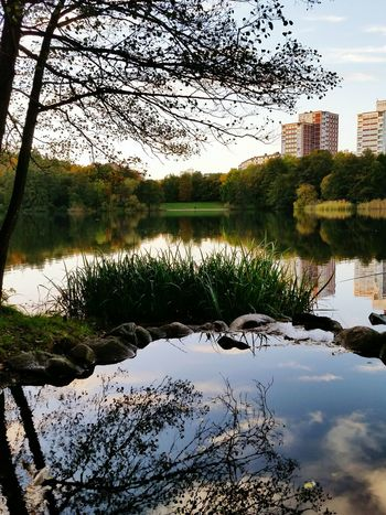 Reflection Water Lake Tree Sky Outdoors Nature Built Structure Architecture Building Exterior Day No People City Growth Beauty In Nature Urban Nature Plant Grass Nature Sweden Tall Buiding Tall Buildings In The Background Green Color