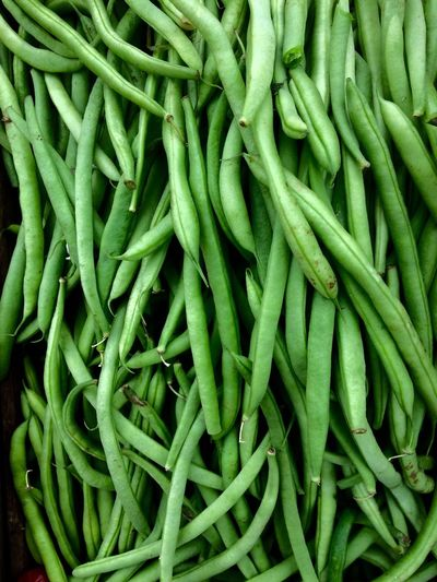 Full Frame Shot Of Green Beans For Sale At Market Stall
