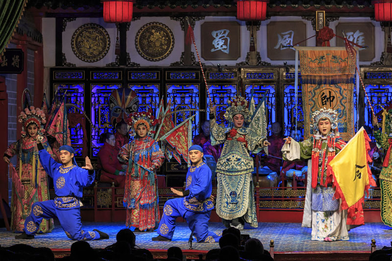 Chengdu, China - December 11, 2018: Actors performing in a Sichuan opera in Chengdu called Shu Feng Ya Yun Chengdu China ASIA Operahouse Opéra Theater Actor Group Of People Real People Large Group Of People Art And Craft Crowd Representation Religion Spirituality Architecture Men