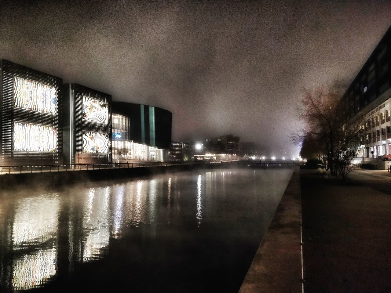 architecture, building exterior, built structure, illuminated, night, city, reflection, water, no people, nature, sky, building, tree, outdoors, cloud - sky, street, plant, auto post production filter, canal