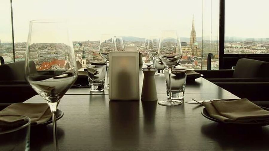 Table Drink Modern Famous Place Austria ❤ Vienna_city Sofitel Landscape_photography Glasses No People Travel Tourism City Business Indoors  Dining Table Restaurantlife Restaurant Day