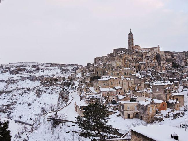 Snow Winter Cold Temperature Travel Tourism City Matera Italy Southitaly Sassidimatera Italia