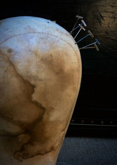 """""""Misfiled memories"""" (2018) Stains Black Background Still Life Daylight No People Still Life Photography Outdoors Faceless Disembodied Heads Manequins Mannequin Head Mannequin Needles And Pins Close-up"""