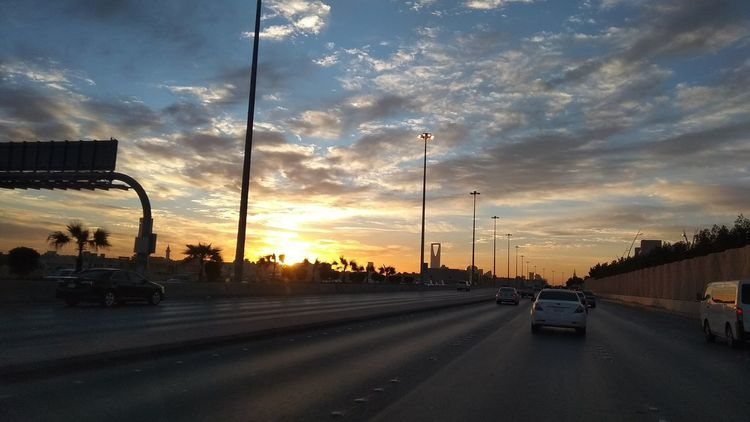 Sunset, Riyadh, Saudi Arabia Sunset Car Road City Dramatic Sky Sky Cloud - Sky Multiple Lane Highway Overpass Two Lane Highway Highway Romantic Sky Elevated Road