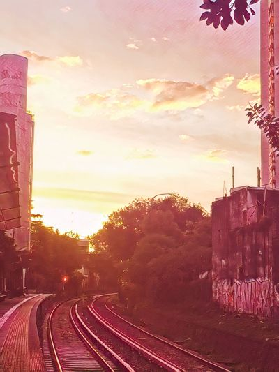 Transportation Sky Sunset Railroad Track Rail Transportation No People Outdoors