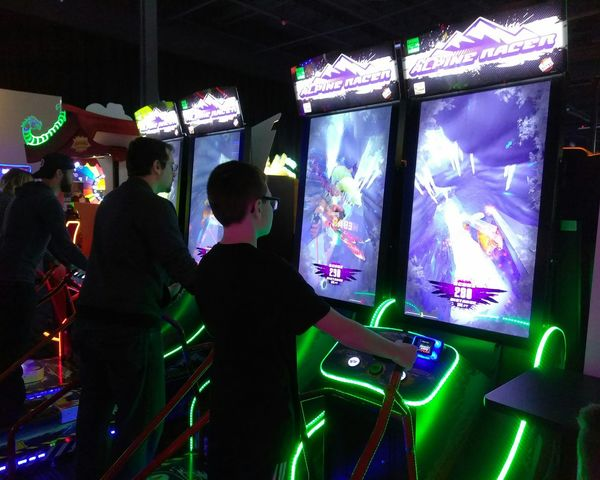 Technology Men People Adult Indoors  Filming Arcade Game Arcade Games Arcade Arcade Machine Playing Videogames