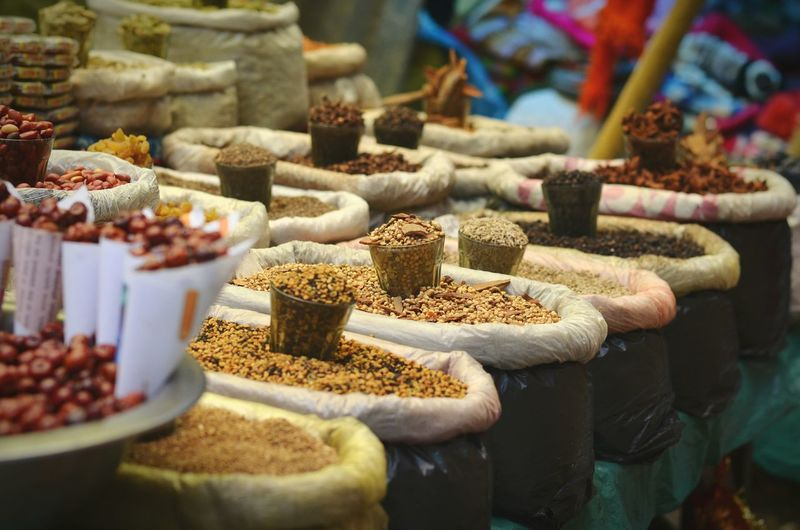 Food at market stall for sale