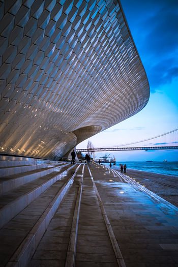 Lisbon - Portugal MAAT Museum Maat, Portugal, Belem Architecture Beach Built Structure Cloud - Sky Day Diminishing Perspective Footpath Group Of People Incidental People Land Leisure Activity Lifestyles Maat Maat - Museum Men Nature Outdoors People Real People Sea Sky Water The Architect - 2018 EyeEm Awards