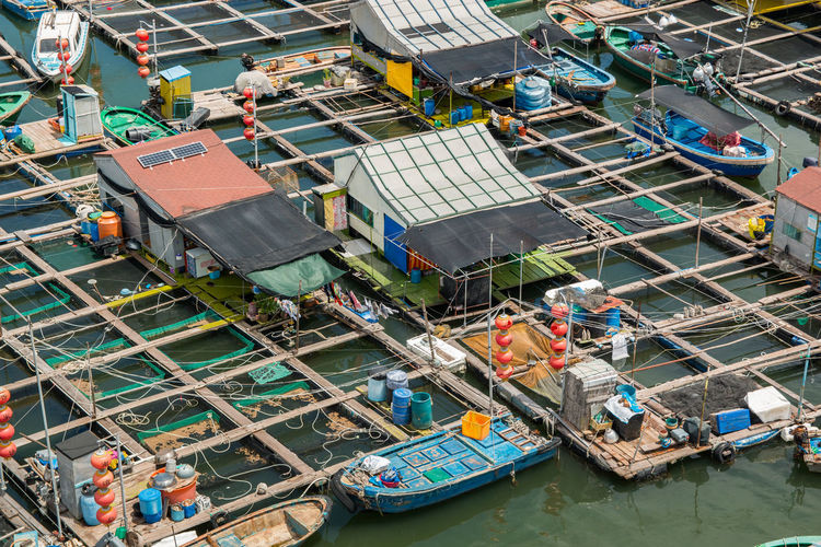 High angle view of boats