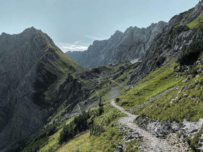 Way to lamsenjochhütte, hiking path, karwendel, tyrol with mountain range