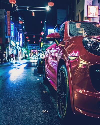 Porsche Porsche Cayenne MelbournePhotographer Melbourne Melbourne City Melbournephotos Melbourneiloveyou Sony SONY A7ii Sonyalpha Red Car City Nightlife Illuminated Street Transportation Night City Street Chinatown