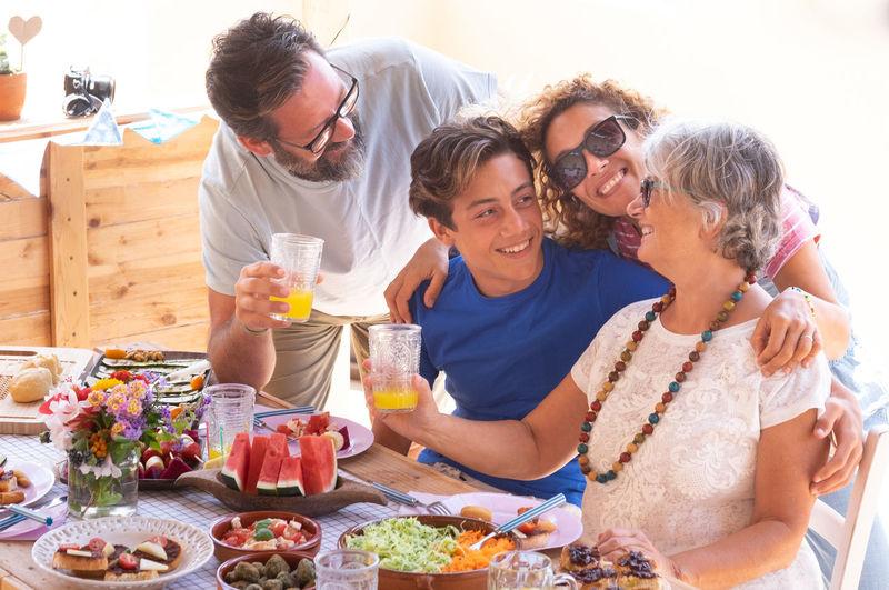 Family having breakfast on table