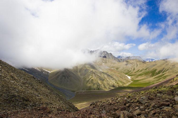 Mountains landscape and view of caucasian mountain range khazbegi, georgia