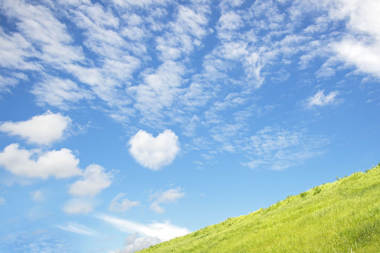 Low angle view of green landscape against sky