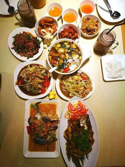 Food Plate Thai Food Somtum Pu-plarha