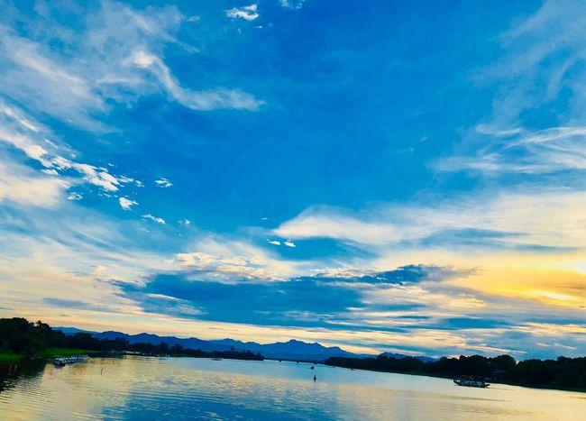 Huong River Water Sky Cloud - Sky Beauty In Nature Scenics - Nature Tranquil Scene Tranquility Nature Blue No People Sunset Mountain Waterfront