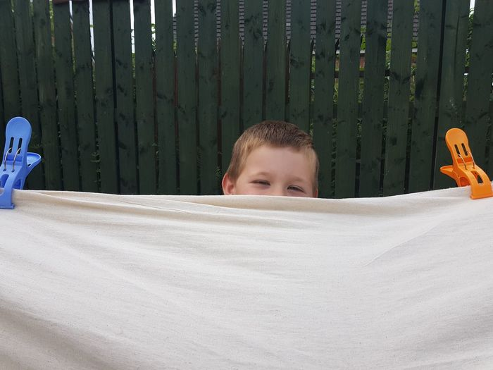 Cloth Fabric Cover EyeEm Selects Child Portrait Childhood Smiling Males  Boys Human Eye Cheerful Looking At Camera Peeking Hiding Behind Shy Fence Covering Spy