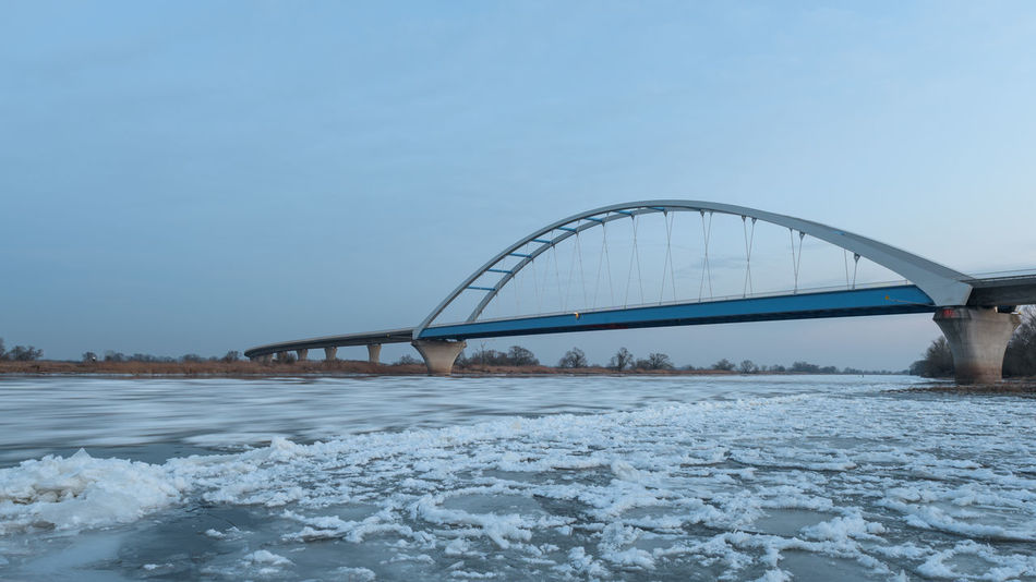 Eis Elbe River Sachsen-Anhalt Architecture Bridge - Man Made Structure Clear Sky Cold Temperature Day Eisschollen Long Exposure Nature Naturschauspiel No People Outdoors Sky Snow Tangermünde Water Winter
