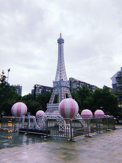 Fire Balloon Eiffel Tower Paris Architecture Built Structure Building Exterior City Tower