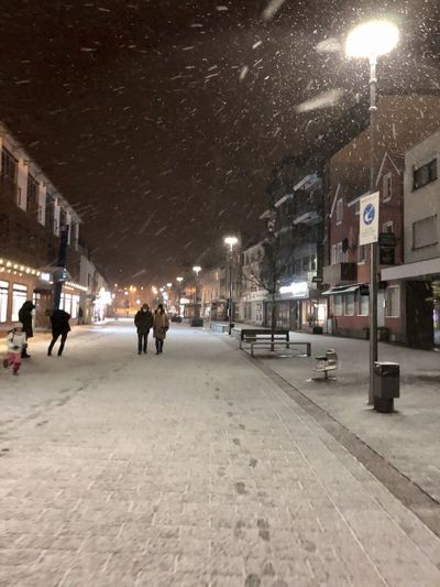 City street at night during winter