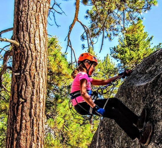 Low angle view of smiling woman rockclimbing by tree against sky