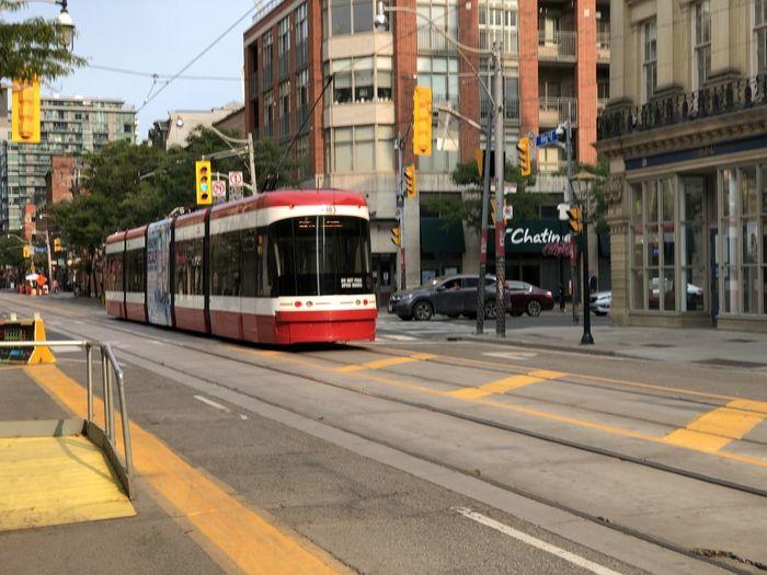 Train on city street