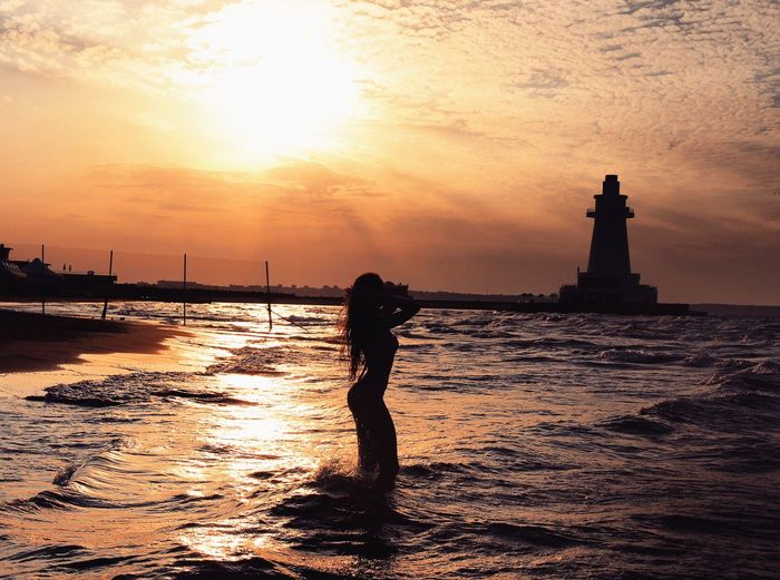 Sky Sunset Silhouette Water Sea Orange Color Nature One Person Beauty In Nature Beach