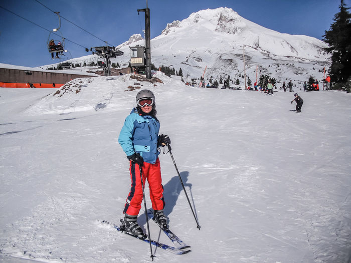 Skiing Cold Temperature Covering Day Full Length Landscape Leisure Activity Lifestyles Mount Hood Mountain Mountain Range Mountains Nature Season  Skiing Sky Sky And Clouds Snow Snowcapped Mountain Timberline TimberlineAdventures Timberlinelodge Vacations Warm Clothing Weather Winter