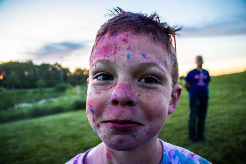 burst of color EyeEm Selects Holi Portrait Child Headshot Front View Close-up Grass Sky Powder Paint Freckle Purple Face Paint Redhead Face Powder Head And Shoulders Nose Ring Festival Traditional Festival Pretty Make-up Brush Dyed Red Hair Passion Flower Clown Blush - Make-up Osteospermum Body Paint Talcum Powder Ballooning Festival Wisteria The Portraitist - 2018 EyeEm Awards The Photojournalist - 2018 EyeEm Awards