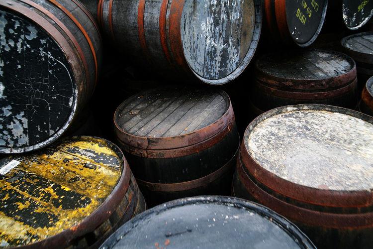 Full frame shot of barrels at factory