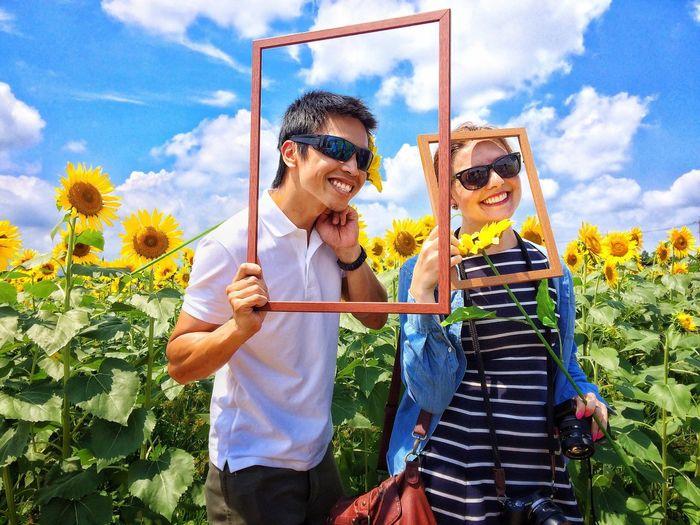 "Hai & Jessica, Travel blog → "" http://notesofnomads.com/ ""| Portrait Color Portrait Couple Summer Summer2015 Summertime Sunflower Sunflowers Collected Community Summer Views Picturing Individuality Summer Exploratorium"