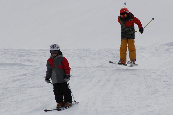 Follow the leader Adventure Bonding Boys Cold Temperature Day Family With One Child Father Full Length Fun Helmet Leisure Activity Lifestyles Nature Outdoors Real People Ski Goggles Ski Holiday Skiing Snow Togetherness Vacations Warm Clothing Weather Weekend Activities Winter First Eyeem Photo