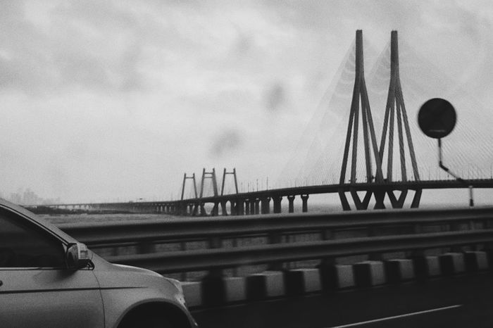 Bridge - Man Made Structure Architecture Built Structure Transportation Connection Mode Of Transport Outdoors No People Day Land Vehicle Sky Google Pixel Pixel Mobilephotography Black And White