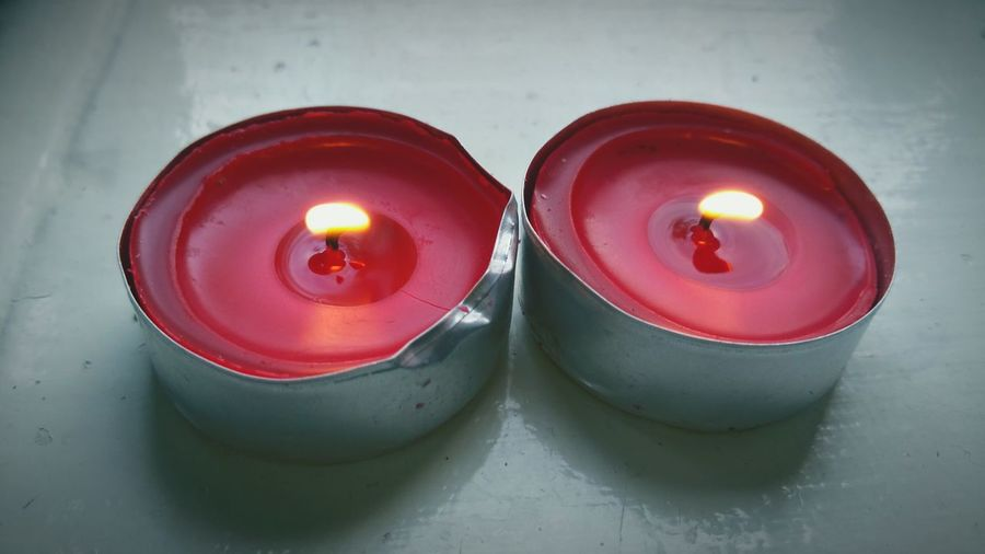 Tea Lights Light Burning Candlelight Wick Candle Hot Flame Red Candles