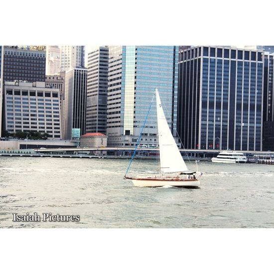 Architecture Building Exterior Water Harbor Urban Skyline Cityscape Yacht NYC Photography Eyeeminstagram NYCImpressions NYC LIFE ♥ EyeEm Best Shots Skyscraper Boats On River Canonphotography