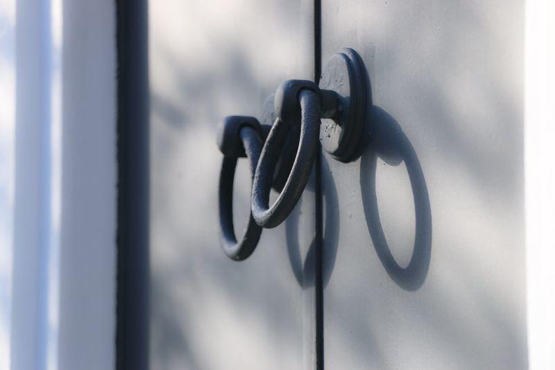 View of metallic door knocker