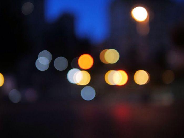 Defocused image of illuminated street lights