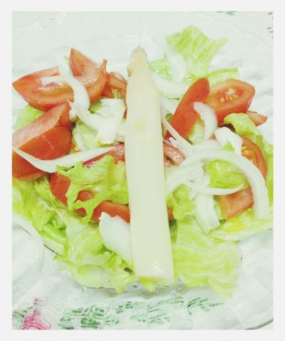 Romaine lettuce, tomato, green onion and cooked white asparagus salad. Food Vegetarian Food Vegan Salad