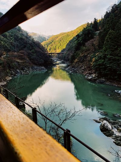 Romantic Train Ride Travel Destinations Japan OSAKA Kyoto Kyoto,japan Water Reflection Railing Nature Tree Sky No People Plant Day Tranquility Beauty In Nature Lake Outdoors Tranquil Scene Scenics - Nature Transportation