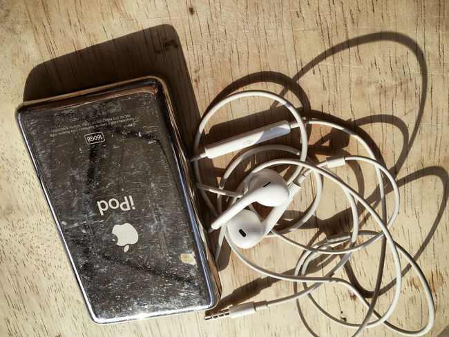 Communication Connection High Angle View Indoors  Ipod Classic No People Old Old-fashioned Still Life Apple Ipod