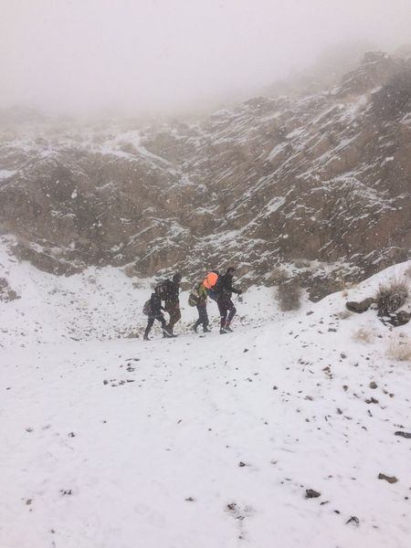 Cold Temperature Mountain Range Climbing Snowing Snow Covered Day Foggy Weather Tehran, Iran Tochal